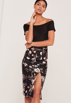 Missguided Floral Scuba Split Front Midi Skirt Black