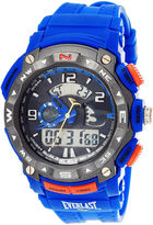 Everlast Mens Blue Silicone Strap Analog/Digital Sport Watch