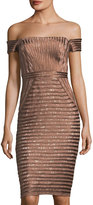 JS Collections Satin-Piped Lace Off-the-Shoulder Sheath Dress