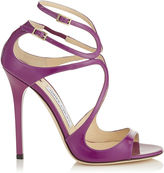 Jimmy Choo LANCE Navy Patent Leather Strappy Sandals