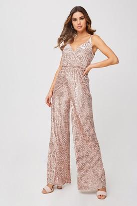 Little Mistress Shelley Mink Velvet Sequin Jumpsuit