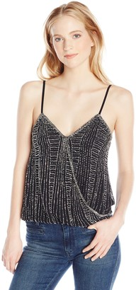 Angie Women's Juniors Beaded Ivory Spaghetti Strap Cami