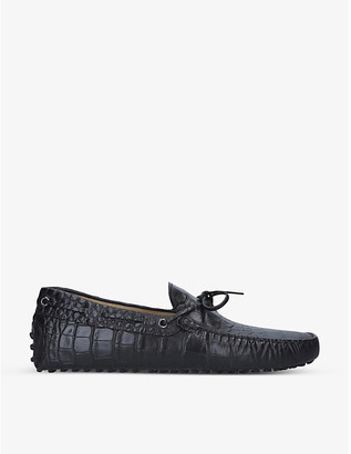 Tod's Croc-embossed tie leather driver loafers