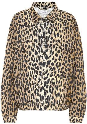 Balenciaga Leopard-print denim jacket