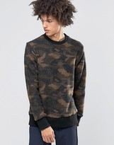 Weekday Collar Camo Print Jumper Boiled Wool