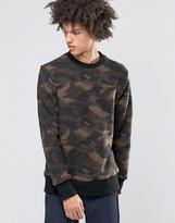 Weekday Collar Camo Print Sweater Boiled Wool