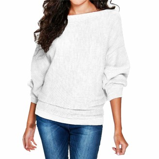 Kabxryaclo Womens Jumper Sweater Slash Neck Knitted Plain Batwing Long Sleeve Loose Top Knitwear for Women(XL(16) White)
