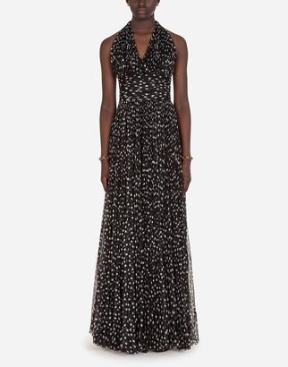 Dolce & Gabbana Long Dress In Polka-Dot Print Chiffon