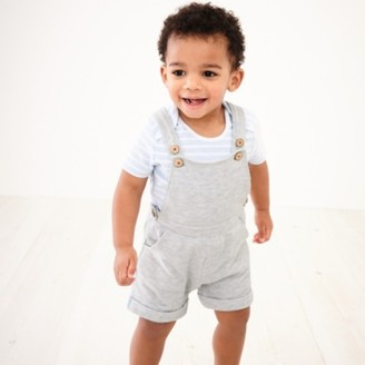The White Company Pique Dungarees & T-Shirt Set, Grey, 3-6mths
