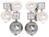 Bulgari 18K White Gold Diamond Pearl Black Pearl Earrings