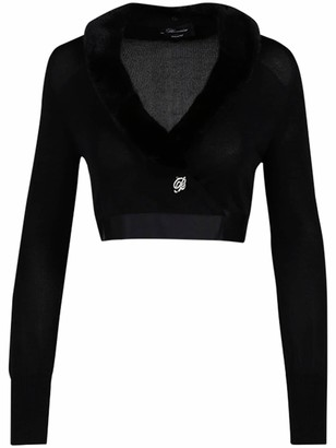 Blumarine Viscose Wrap Cardigan W/Fur Collar