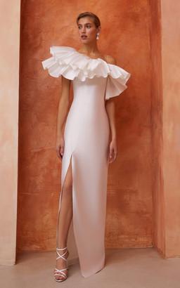 Rasario Bridal Asymmetric Ruffled Silk Maxi Dress