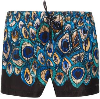 Dolce & Gabbana Peacock-Feather Print Swim Shorts