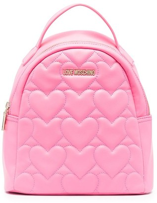 Love Moschino Heart-Quilted Faux-Leather Backpack
