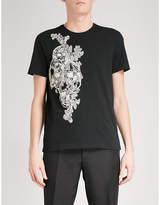 Alexander Mcqueen Side Skull Embroidered Cotton-jersey T-shirt