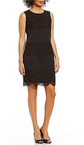 Anne Klein Lace Crepe Panel Shift Dress