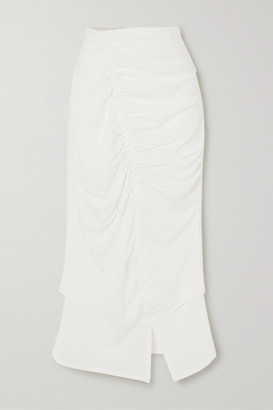 The Line By K Leomie Ruched Crinkled-voile Midi Skirt
