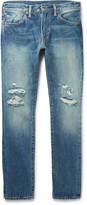 Levi's - 511 Slim-fit Distressed Selvedge Denim Jeans