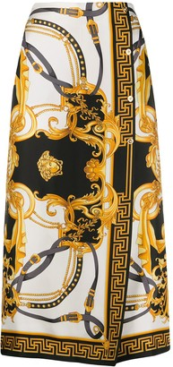 Versace Baroque silk wrap-front cropped trousers