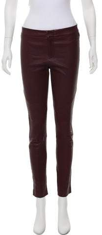 Yigal Azrouel Leather Mid-Rise Pants