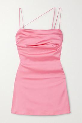 De La Vali Frisco Ruched Satin Mini Dress - Pink