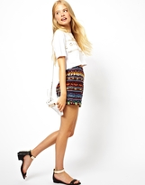 Asos High Waisted Shorts in Aztec Embroidery