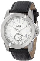 A Line a_line Women's AL-80022-02 Amare Silver Dial Black Leather Band Watch