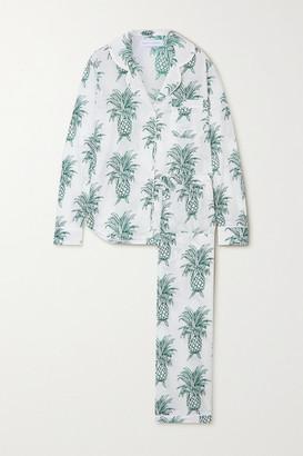 Desmond & Dempsey Howie Printed Organic Cotton Pajama Set - Green