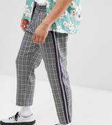 Milk It Cropped Check Trousers With Side Stripe