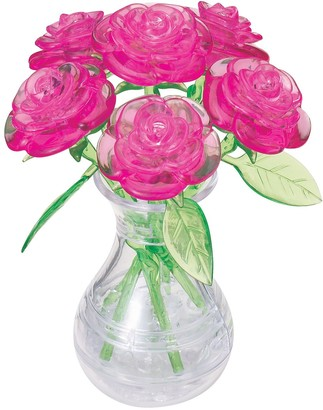 University Games 3D Crystal Puzzle - Roses in a Vase 47-Pieces