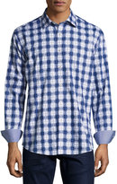 Bugatchi Check-Print Sport Shirt, Navy