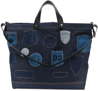 DSQUARED2 Embroidered Badge Denim Tote