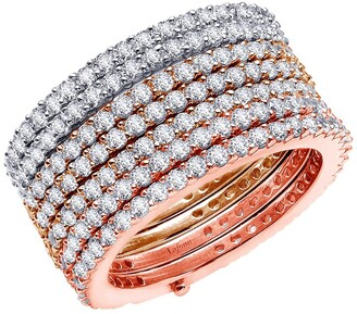 Lafonn Tri-Color Over Sterling Silver Simulated Diamond Micro Pave Multiple Ring