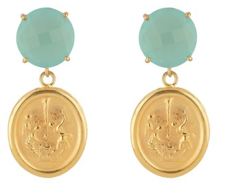 Tagliamonte 18K Gold Plated Sterling Cameo Gemstone Earrings