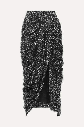Isabel Marant Calliandra Draped Sequin-embellished Georgette Midi Skirt - Black