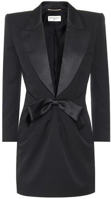 Saint Laurent Wool-crepe tuxedo minidress