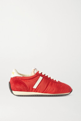 RE/DONE 70s Runner Suede And Leather-trimmed Shell Sneakers - Red