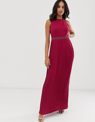 Little Mistress high neck pleated maxi dress
