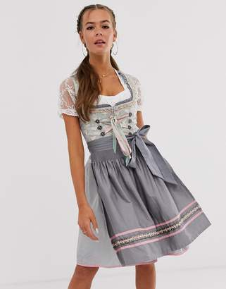 Asos Stockerpoint medium length Oktoberfest dirndl with apron-Grey