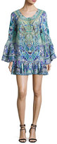 Camilla A-Line Frill Coverup Mini Dress, Multi