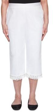 Alfred Dunner Petite Checkmate Denim Lace Fringe Capri Jeans