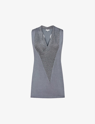 Reiss Verity woven metallic vest top