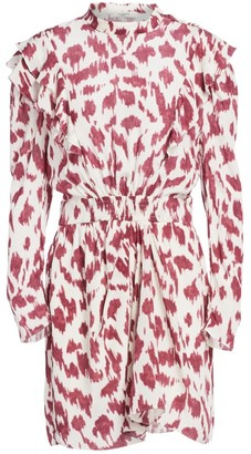 Etoile Isabel Marant Yoana Printed Ruffled Silk Sheath Dress