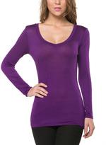Magic Fit Purple Long-Sleeve Scoop Neck Tee