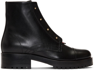Valentino Black and Red Garavani Karung Combat Boots