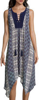 A.N.A a.n.a Sleeveless Print High-Low Dress with Lace-Up Neck