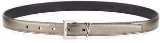 Saint Laurent Logo Skinny Metallic Leather Belt