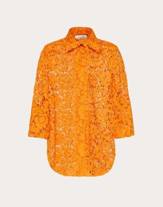Valentino Heavy Lace Shirt Women Orange Viscose 43%, Cotton 34% 40