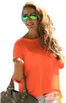 Fashion Story Women Summer Casual Long Sleeve Split Round Neck Blouse Shirt Tops