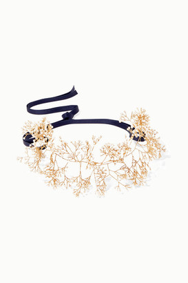 14 / Quatorze Baby's Breath Gold-tone Pearl Headband - White